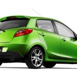 Mazda 2 Lime Green Rear Low Angle Wallpaper