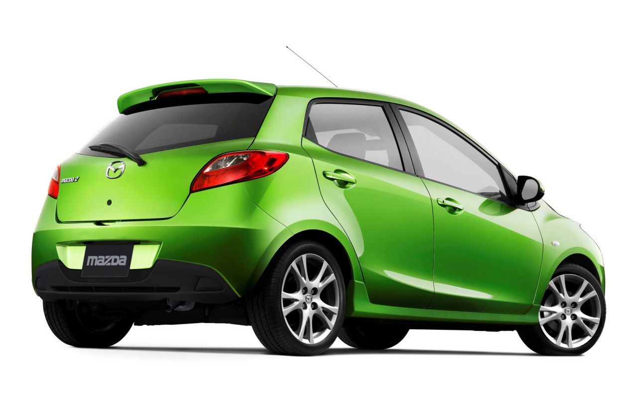 Mazda 2 Lime Green Rear Low Angle Wallpaper 1280x800