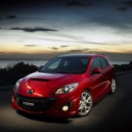 Mazda 3 Mps Red Front Side High Angle Wallpaper