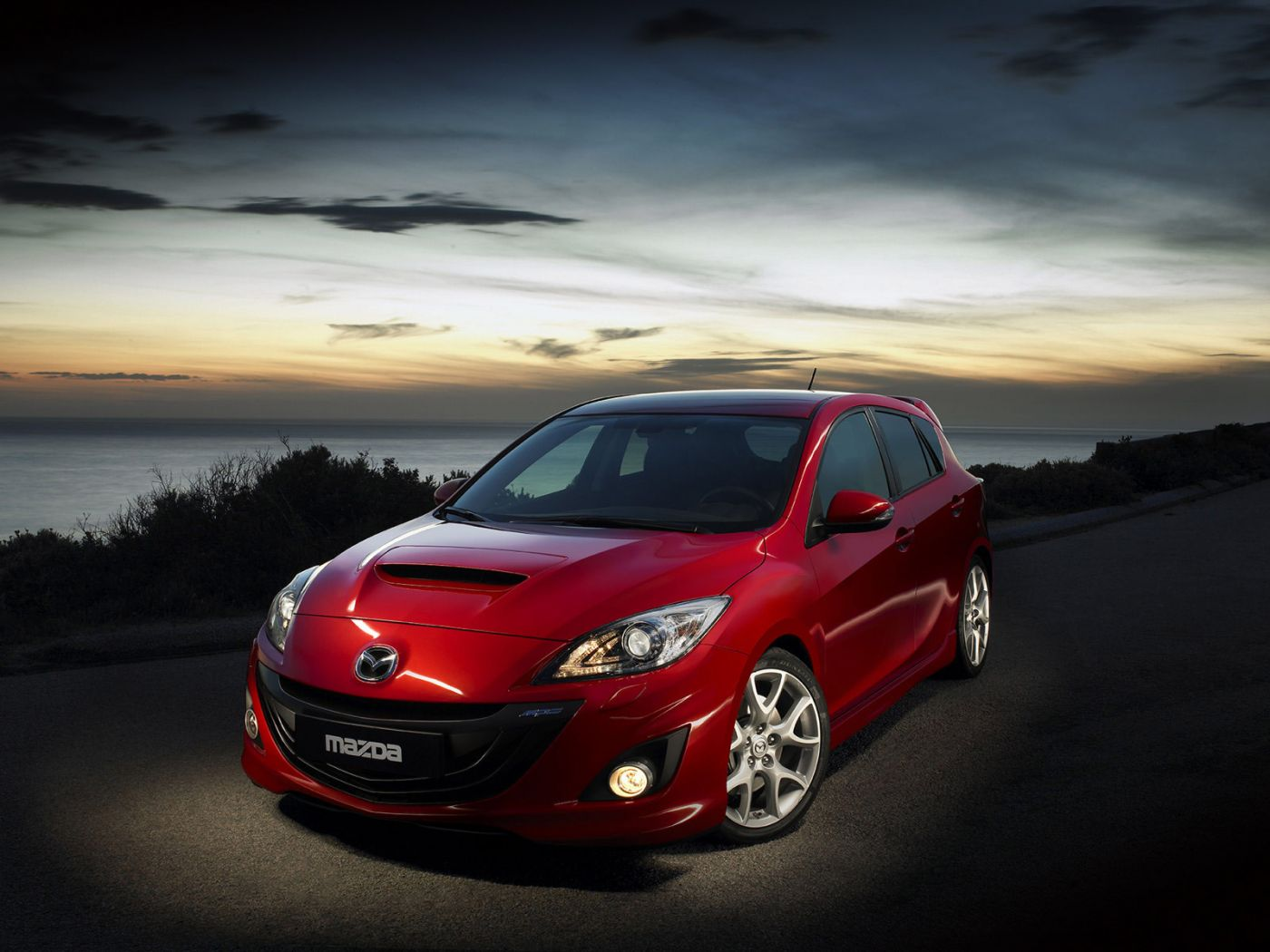 Mazda 3 Mps Red Front Side High Angle Wallpaper 1400x1050
