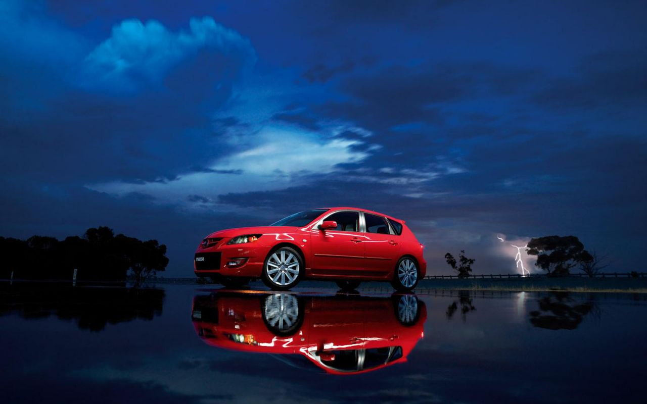 Mazda 3 Mps Red Reflection Wallpaper 1280x800