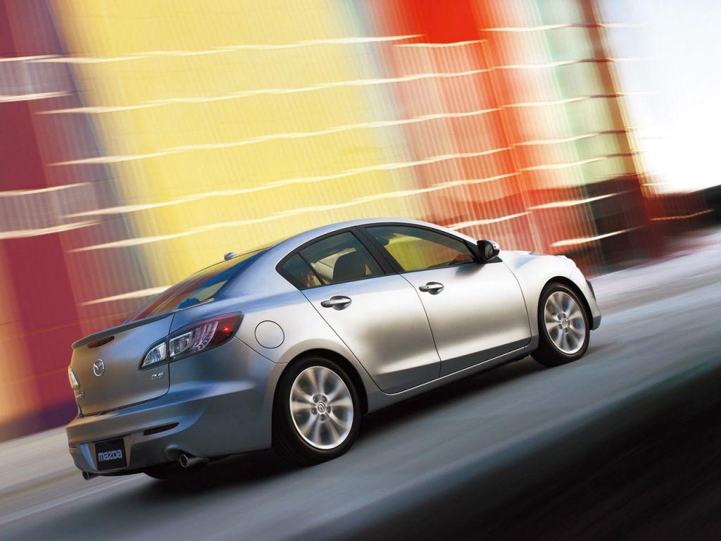 Mazda 3 Silver Side Rear Angle Moving Wallpaper 1024x768