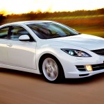 Mazda 6 White Sedan Front Side Angle Moving Wallpaper