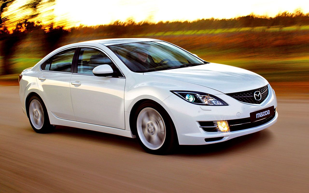 Mazda 6 White Sedan Front Side Angle Moving Wallpaper 1280 ...