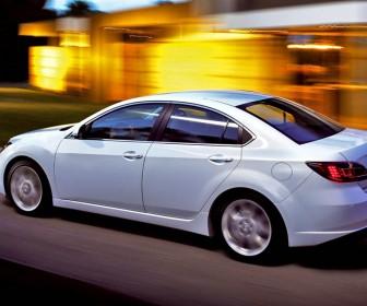 Mazda 6 White Sedan Moving Blurred Background Wallpaper
