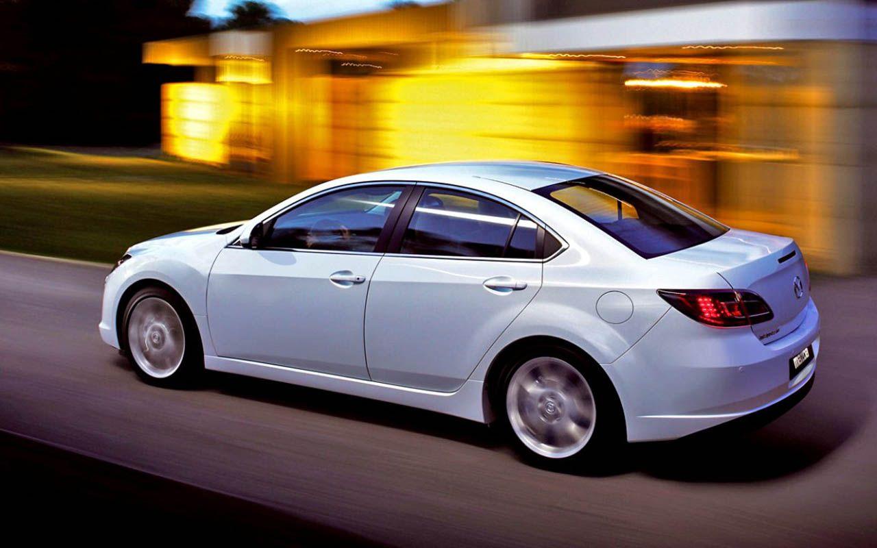 Mazda 6 White Sedan Moving Blurred Background Wallpaper 1280x800