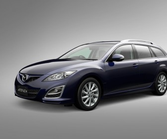 Mazda Atenza Blue Wagon Front Side Angle Wallpaper