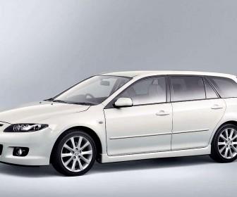 Mazda Atenza White Sport Wagon Side View Wallpaper