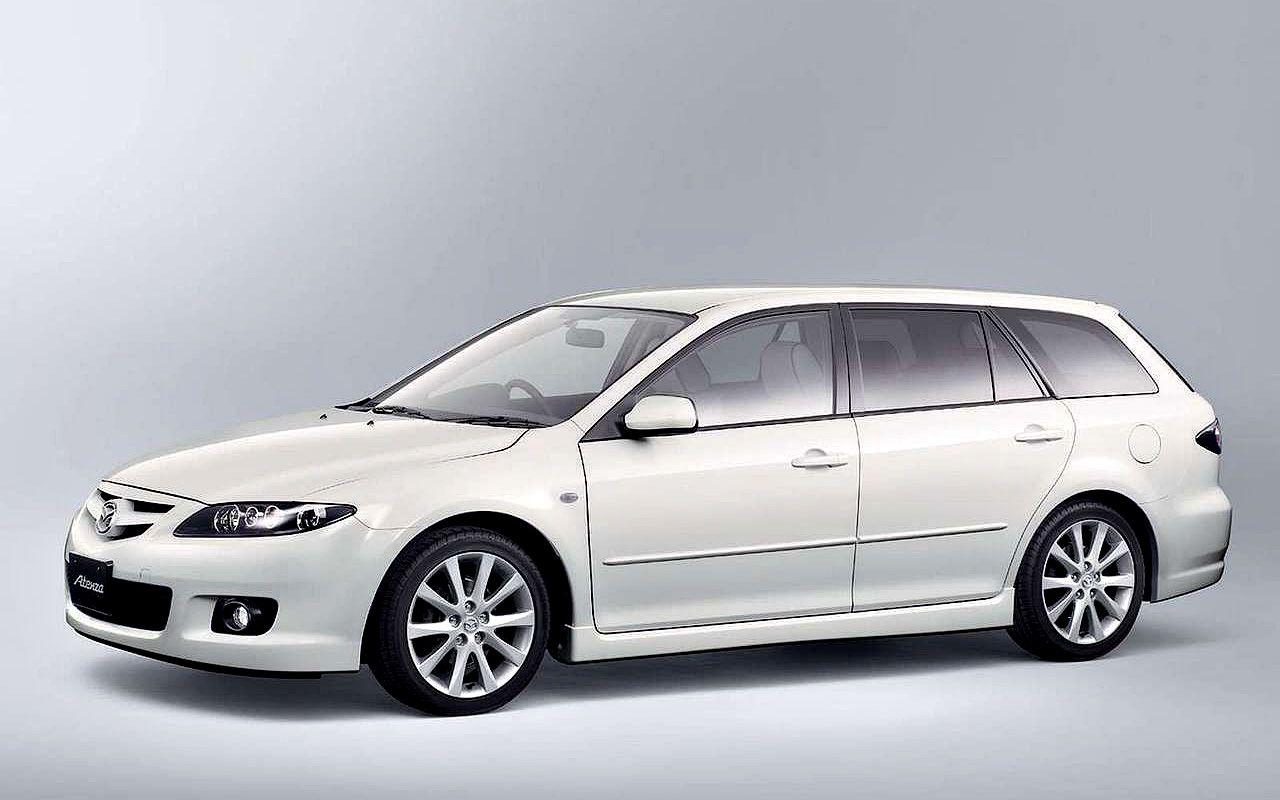 Mazda Atenza White Sport Wagon Side View Wallpaper 1280x800