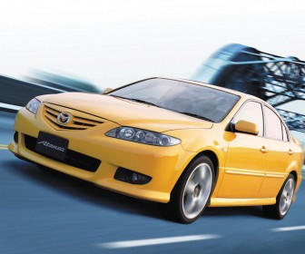 Mazda Atenza Yellow Front Side Angle Moving Wallpaper