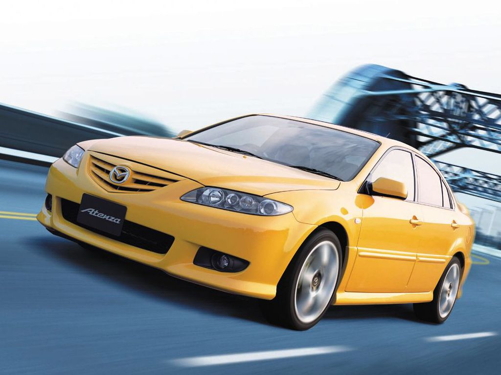 Mazda Atenza Yellow Front Side Angle Moving Wallpaper 1024x768