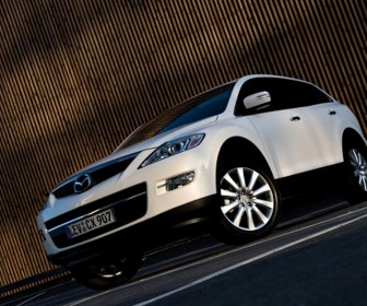 Mazda Cx9 White Front Side Low Angle Wallpaper