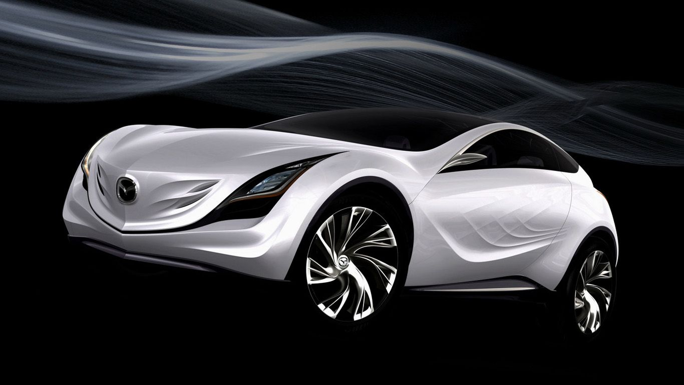 Mazda Kazamai Concept White Air Stream Wallpaper 1366x768