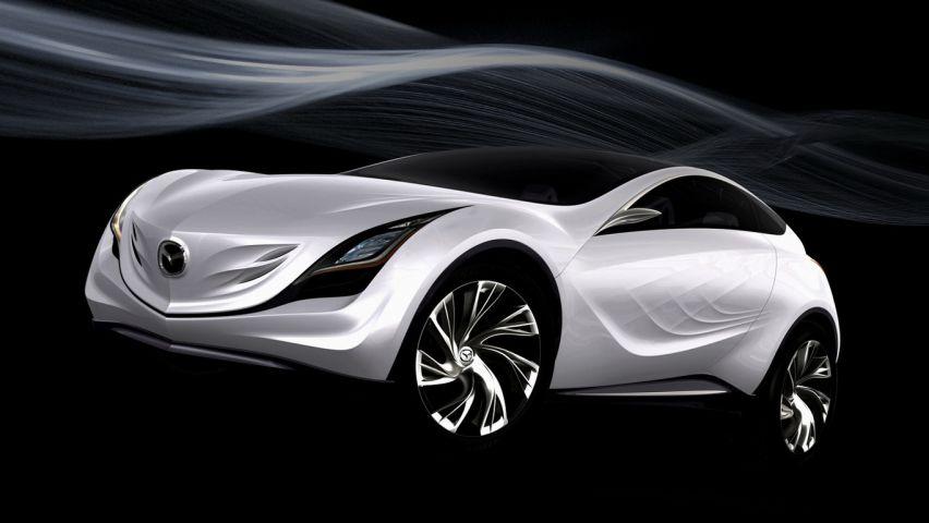 Mazda Kazamai Concept White Air Stream Wallpaper 852x480