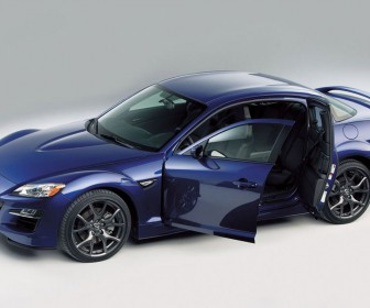 Mazda Rx8 Blue High Angle Doors Open Wallpaper