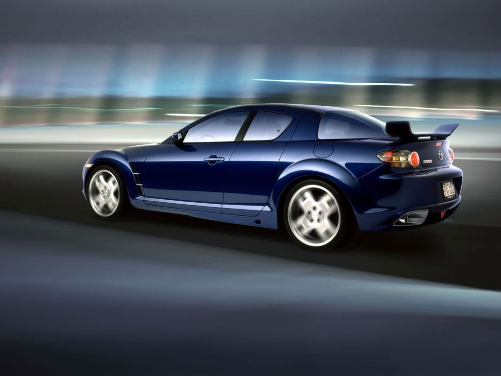 Mazda Rx8 Moving Blurred Background Wallpaper 1024x768
