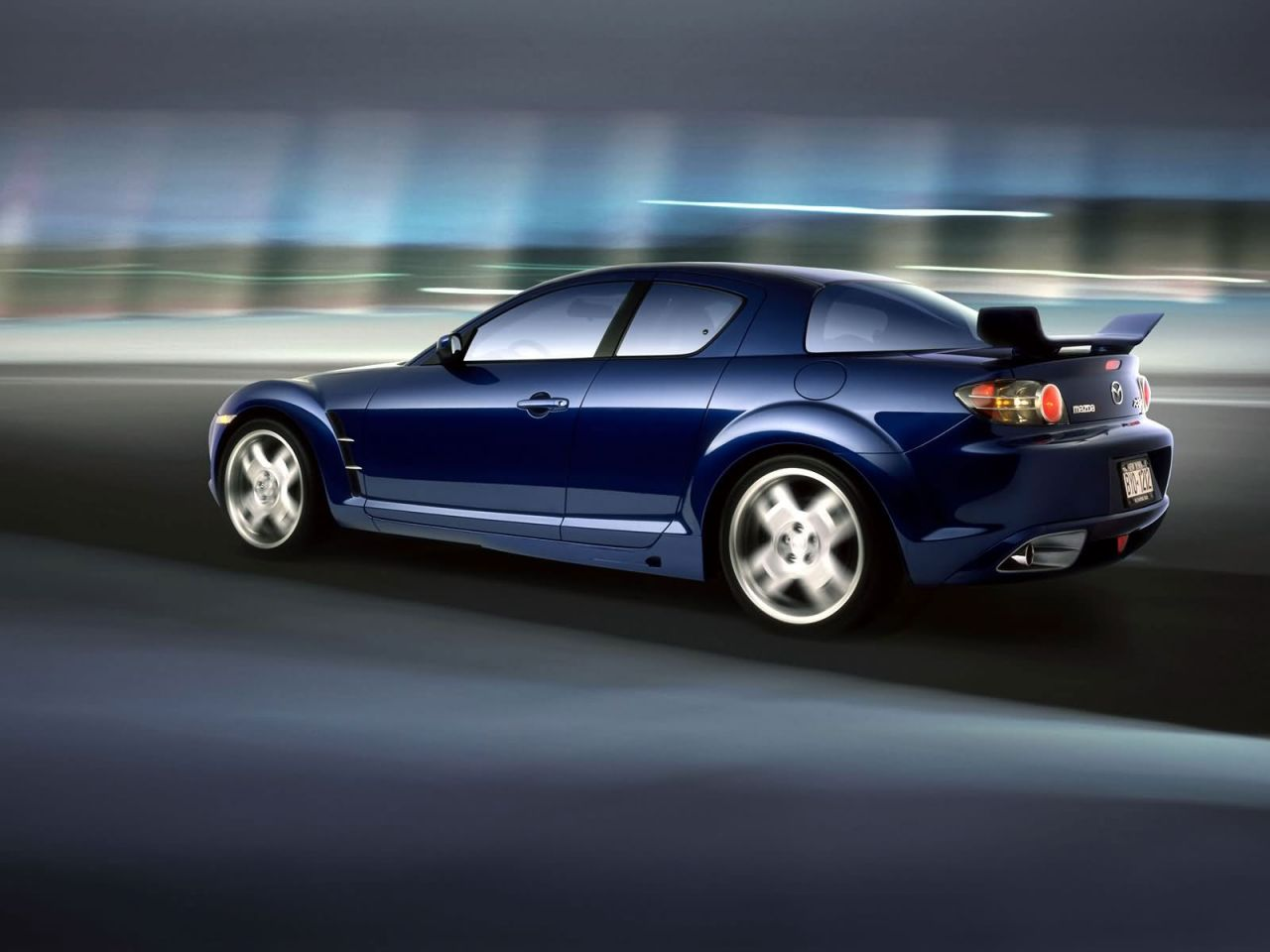 Mazda Rx8 Moving Blurred Background Wallpaper 1280x960